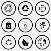 Ecology set. Black and white set vector icons.