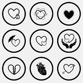 Heart shape set. Black and white set vector icons.