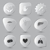 Medical set. Vector glass buttons.