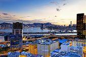 Kowloon at sunset, hongkong downtown area