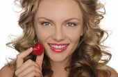 Beautiful Woman With Strawberries In Hands