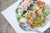 Stir Fried Spaghetti With Teriyaki Sauce And Seafood
