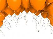 Orange party balloons on white background
