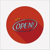 Shopping Store Sign Flat Icon With Long Shadow,eps10
