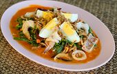 stock photo of thai food  - Vegetable fern spicy salad Thai food - JPG
