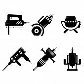 Black icons vector collection of construction equipment