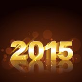 vector simple and attractive background of new year 2015 text written in gold