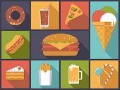 Fast Food icons vector illustration. Flat design illustration with various fast food icons.