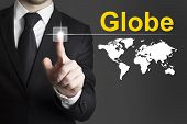 Businessman Pushing Button Globe International