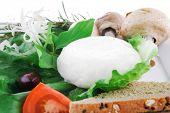 light white feta cheese and green lettuce on white