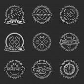 Set of sports and fitness logo emblem graphics