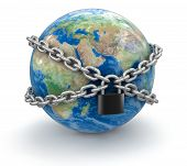 Globe and lock (clipping path included)