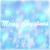 Merry Christmas postcard, handwriting text on blue background, festive wallpaper, wintertime holidays concept