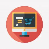 Online Shopping Flat Icon With Long Shadow,eps10