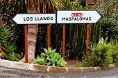 Road sign in Parque Natural de Pilancones, Gran Canaria, Spain