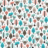 Seamless winter reindeer animal woodland scandinavian style kids background pattern in vector