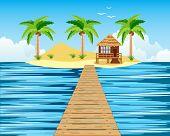 Wooden bridge to tropical island