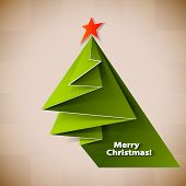 Christmas tree card. Vector origami