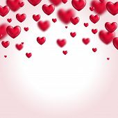 Valentine's day background with flying hearts