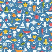Seamless patterns of marine symbols. Vector illustration.