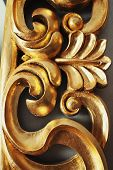Closeup Of Golden Stucco Decoration