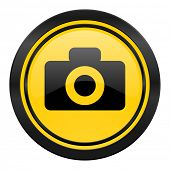 camera icon, yellow logo