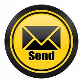 send icon, yellow logo, post sign