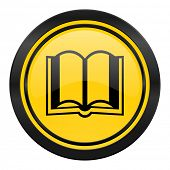 book icon, yellow logo