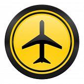 plane icon, yellow logo, airport sign