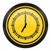 time icon, yellow logo, clock sign