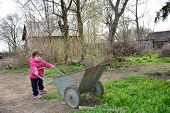 In the spring of small rural girl carries a wheelbarrow.