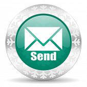 send green icon, christmas button, post sign