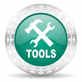 tools green icon, christmas button