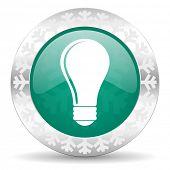 bulb green icon, christmas button, idea sign