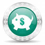 piggy bank green icon, christmas button