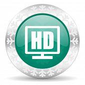 hd display green icon, christmas button