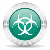 biohazard green icon, christmas button, virus sign