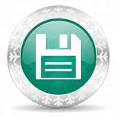 disk green icon, christmas button, data sign