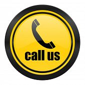 call us icon, yellow logo, phone sign