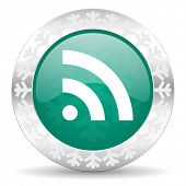 rss green icon, christmas button