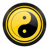 ying yang icon, yellow logo