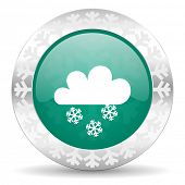 snowing green icon, christmas button, waether forecast sign