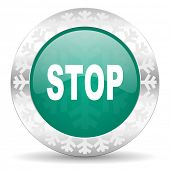 stop green icon, christmas button