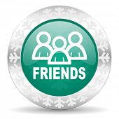 friends green icon, christmas button