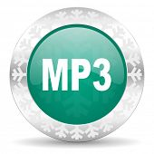 mp3 green icon, christmas button