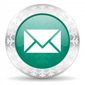 email green icon, christmas button, post sign
