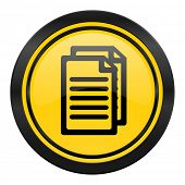 document icon, yellow logo, pages sign