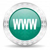 www green icon, christmas button
