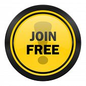 join free icon, yellow logo,