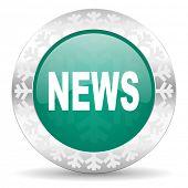 news green icon, christmas button